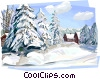 Russian winter nature scene Vector Clipart graphic
