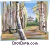 Vector Clipart illustration  of a Russian nature scene with trees