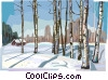 Russian winter nature scene Vector Clip Art picture