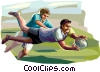 Vector Clip Art graphic  of a Rugby players