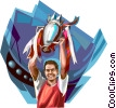 Sports champion with trophy Vector Clip Art image