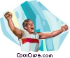 Football player celebrating Vector Clip Art picture