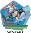 Vector Clip Art graphic  of a Footbal players