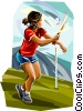Vector Clip Art image  of a Girl playing rounders