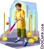 Boy playing rounders Vector Clip Art picture