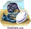 Vector Clip Art image  of a Rugby equipment