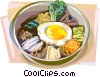 Korean Bibimbap Boiled rice with vegetables Vector Clipart illustration