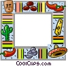 Mexican themed frame Vector Clipart image