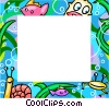 Aquatic themed frame Vector Clipart image