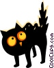 Scared black cat Vector Clip Art graphic
