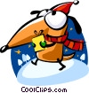Santa's helper carrying a gift Vector Clipart picture