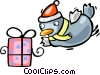 Santa's helper with a gift Vector Clip Art picture