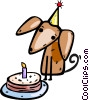 Vector Clip Art graphic  of a Puppy with his birthday cake