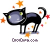 Vector Clip Art picture  of a Black cat