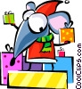 Vector Clip Art image  of a Santa's helper with gifts