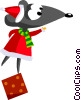 Vector Clip Art graphic  of a Santa's helper standing on a