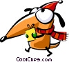 Santa's helper carrying a present Vector Clipart picture