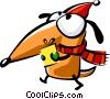 Santa's helper carrying a present Vector Clipart picture