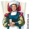 Vector Clip Art graphic  of a Dutch woman in traditional