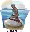 Vector Clipart illustration  of a Mermaid on a rock