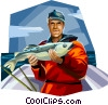 Fisherman displaying his catch Vector Clipart image