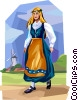 Vector Clip Art image  of a Danish dancer in traditional