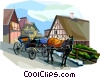 Horse drawn carriage, Denmark Vector Clipart image
