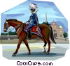 Ceremonial Danish guard on horse back Vector Clipart graphic