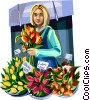 Vector Clipart illustration  of a Woman selling flowers