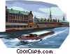 Tourist boat passing Danish stock exchange Vector Clip Art image