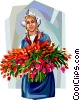 Vector Clip Art graphic  of a Dutch woman with tulips