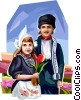 Dutch children in traditional costume Vector Clip Art image