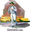 Cheese maker in Netherlands Vector Clipart picture