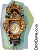 Antique Dutch wall clock Vector Clipart picture
