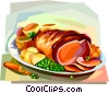 British cuisine, roast beef dinner Vector Clipart illustration