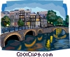 Amsterdam, bridge over canal Vector Clip Art image