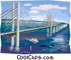 Oresund Bridge connecting Sweden & Denmark Vector Clip Art graphic