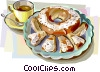 Vector Clip Art image  of a Danish pastry with coffee