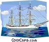 Vector Clipart image  of a Danish tall ship Skoleskibet