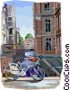 Bicycle on bridge in Amsterdam Vector Clipart illustration