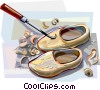 Vector Clip Art graphic  of a Wooden clogs