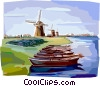 Vector Clip Art graphic  of a Canal in the Netherlands