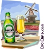 Glass of beer with windmill