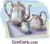 Silver tea set Vector Clipart illustration