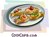 Mini Vol-au-Vent, fish shape desserts Vector Clipart picture
