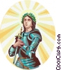 Vector Clip Art image  of a Saint Joan of Arc