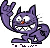 Vector Clip Art graphic  of a Hyper cat