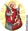 Vector Clip Art graphic  of a Jesus Christ blessing mother