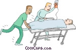 patient rushed on stretcher Vector Clip art