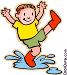boy jumping in rain puddle Vector Clip art